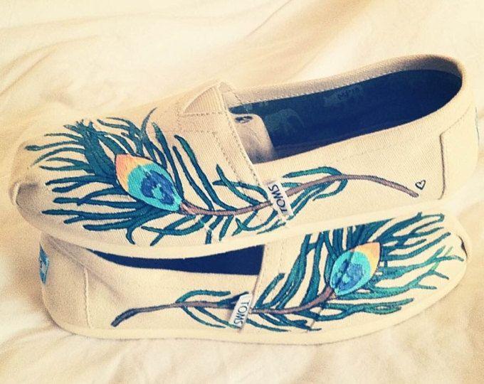Peacock Feather Hand geschilderd TOMS schoenen