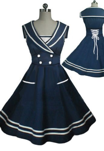 50s Rockabilly Sailor Swing Dress by Amber Middaugh --Save 37% at Chicstar.com coupon: AMBER37 #Retro #Vintage #Rockabilly #Sailor