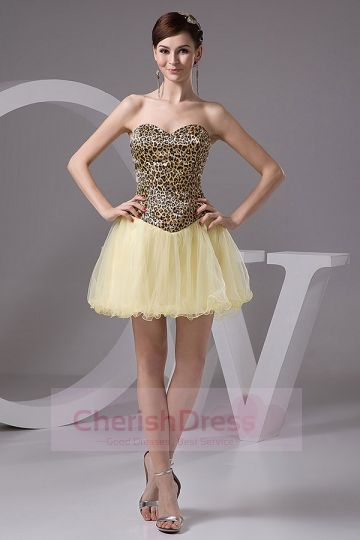 Mini Leopard and Daffodil Basque Waist Princess Homecoming/Prom Dress