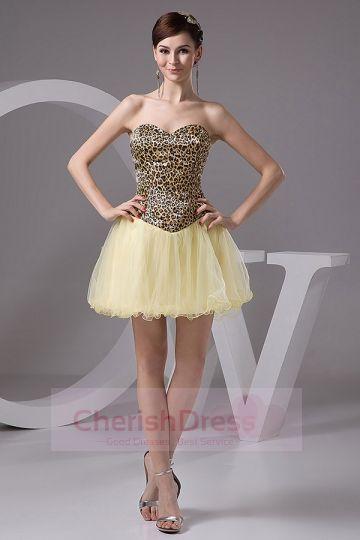 Mini Leopard and Daffodil Basque Waist Princess Homecoming/Prom Dress