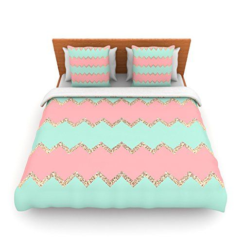 "Kess InHouse Monika Strigel ""Avalon Soft Coral and Mint Chevron"" Orange Green Twin Fleece Duvet Cover, 68 by 88-Inch"