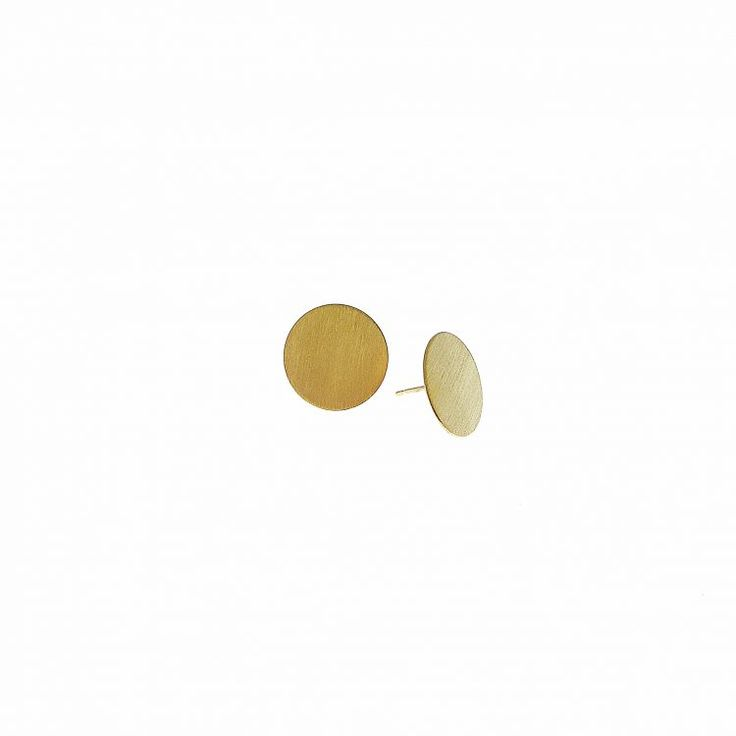 Full-Moon Stud Earrings in Gold Plaited – Χειροποίητο κόσμημα e-shop – Handmade Jewellery Online