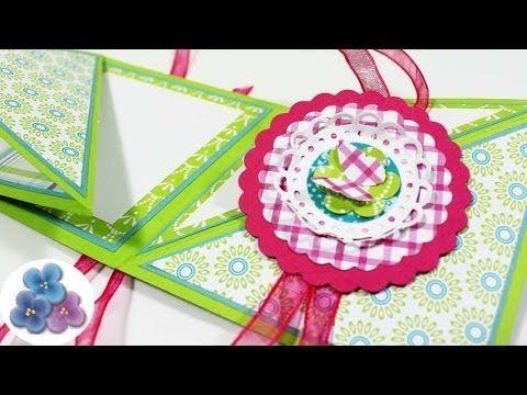 Como hacer una Tarjeta Reversible Manualidades con Papel Cumpleaños tutorial Scrapbook Pintura Facil