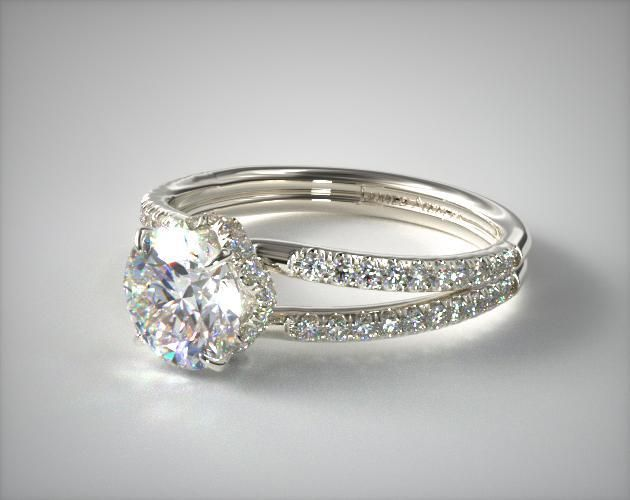 14K White Gold Split Shank Ribbon Engagement Ring | A ribbon of pave , perched below the center diamond, adorns this sophisticated pave split shank diamond engagement ring. Complete the package with the diamond or gemstone of your choice. | Ring Style: 17453W14 on JamesAllen.com. Click to view this ring in 360° HD.