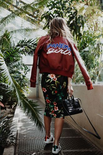 $150 Cool Skater Girl Maroon Burgundy Red Slogan Logo Bomber Jacket With Cute Black Floral Patterned Midi Skirt