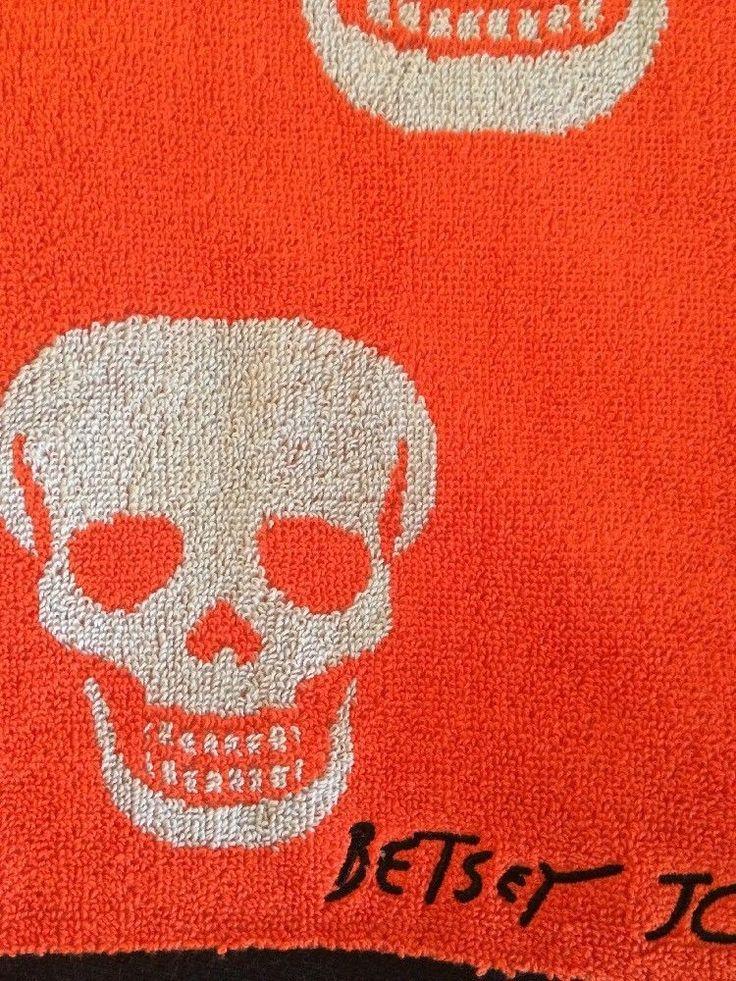 Betsey Johnson Orange Crazy Skull Bath Towels & Washcloths  New #betseyjohnson