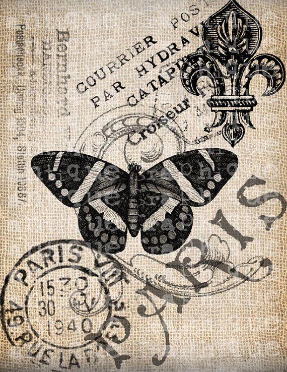Antique French Butterfly Paris Postmark Digital Download for Tea Towels, Papercrafts, Transfer, Pillows, etc Burlap No 3309