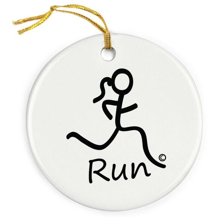 Running Porcelain Ornament Run Girl Stick Figure
