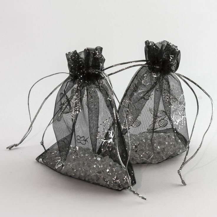 Organzasäckchen Organzabeutel Säckchen Organza schwarz, Schmetterlinge verschied. Größen in Dekoration  • Organza Säckchen