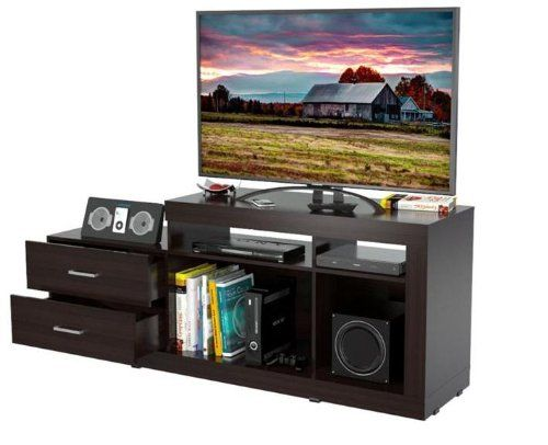 Inval MTV-4419 Functional Flat-Screen Tv Stand, 46-Inch, Espresso-Wengue. Laminated in double-faced durable melamine which is stain, heat and scratch resistant. Finished in Espresso-Wengue. Solid engineered wood P2 standard, coming from well managed forests. Accommodates flat-screen TVs up to 46 inches. Maximum TV weight: 58.2 lbs.