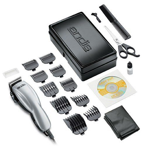 "Andis Company 18645 Silver Clipper Haircutting Kit, 19 Pieces by Andis. $15.59. Durable storage case. 10 attachment combs. 5 year limited warranty. Magnetic motor clipper. Comes with how-to DVD. The Home Haircut 19 piece kit by Andis comes with everything you need to give a professional looking haircut in the comfort of your own home.  This powerful, magnetic motor clipper is adjustable for the right cutting length and comes with 10 different attachment combs (1/16"", 1/8..."