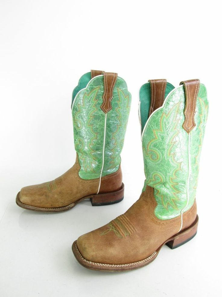 Women's Ariat Lime Green Opalescence Leather Cowboy Western Boots US Sz 7  ...