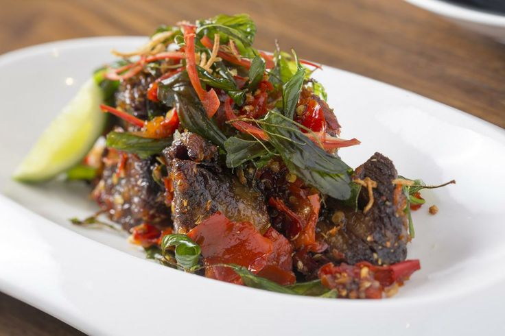 Dendeng balado caramelized short rib beef with pounded chilli kaffir lime & lemon basil @ Mama San Hong Kong
