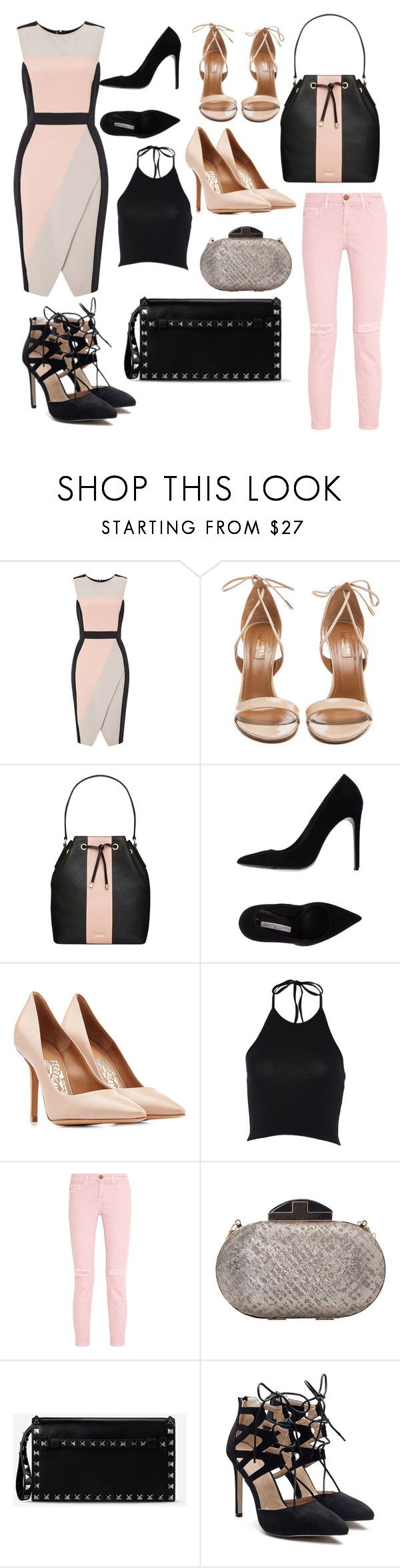 """""""Black + Pink = ❤️"""" by owl33546 ❤ liked on Polyvore featuring Miss Selfridge, Aquazzura, Kate Spade, Gianmarco Lorenzi, Salvatore Ferragamo, Current/Elliott, French Connection and Valentino"""