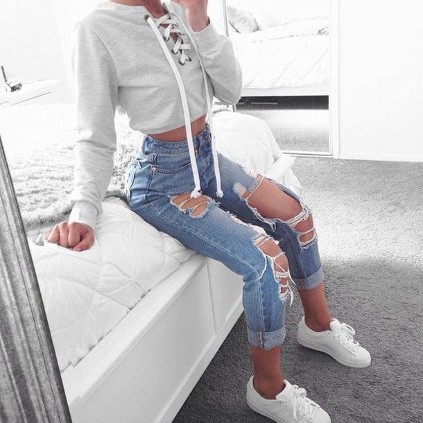 Jacket: white sneakers hoodie cropped hoodie high waisted jeans levi's ripped jeans high waisted