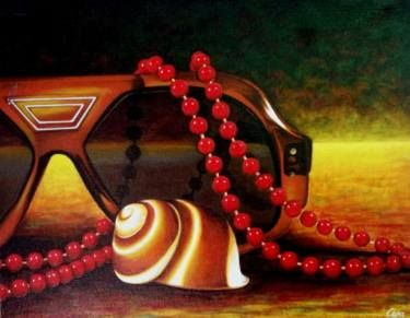 "Saatchi Art Artist Dan Civa; Painting, ""Sunglasses with neckglace and sea shell""…"