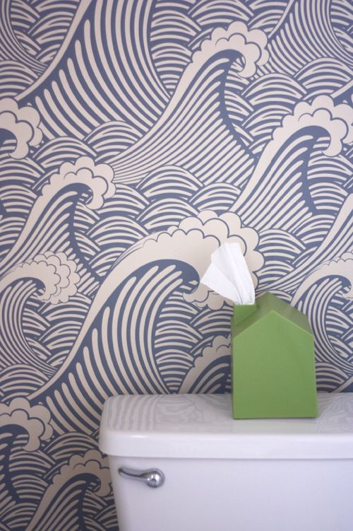 "ww.designcandyinteriors.com Removable wallpaper in the bathroom ""Waves of Chic"" by ""wallsneedlove.com"""
