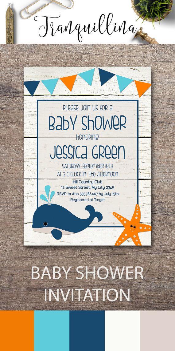 Whale Baby Shower Invitation Printable, Boy Baby Shower Invite, Nautical Baby…