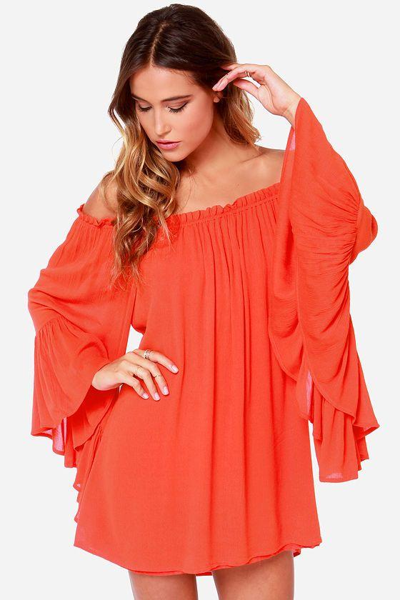 Samba Rhythm Red Orange Off-the-Shoulder Dress at LuLus.com!