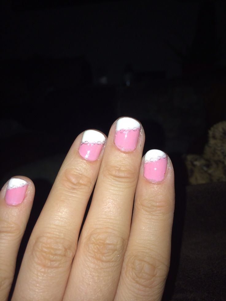 Angled French manicure with silver chain design