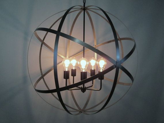 Industrial Orb Chandelier 30 Inch Ceiling by VintageIronworks $500