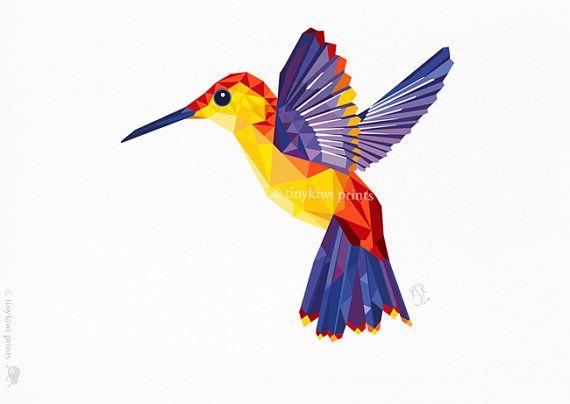 Hummingbird illustration American bird Instant by tinykiwiDesigns