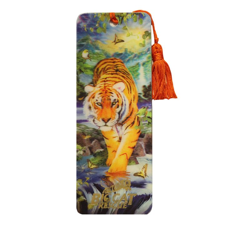 Ultra cool bookmark features a hologram image a tiger crossing a waterfall on the front and 6in/15 cm ruler on the back. Image appears to jump of the card with three dimensional splendor. Gold Big Cat