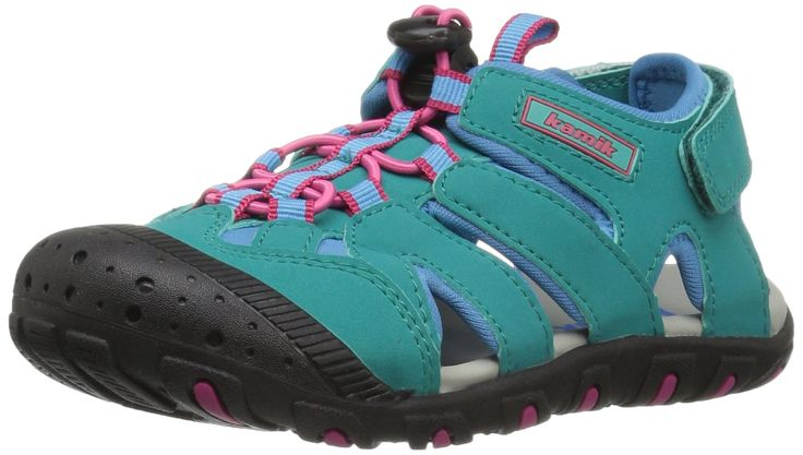Kamik Girls' Oyster Water Shoe, Teal, 7 M US Big Kid. Waterproof synthetic leather upper. One pull bungee lace system. Quick drying moisture wicking lining. Rubber toe guard. Adjustable velcro strap.