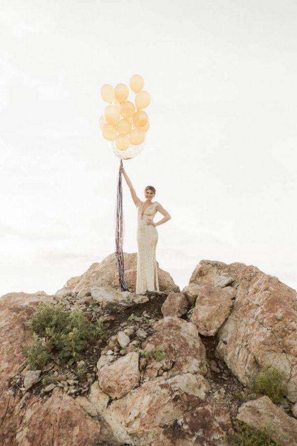 Bride in gold sequins with balloons    #wedding #weddings #weddingideas #aislesociety #glamwedding