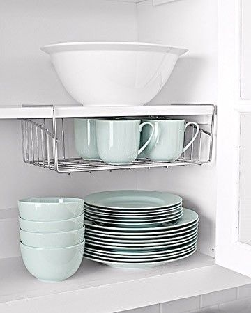 Attach Undershelves in a Cabinet to Take Advantage of Vertical Space | 52 Totally Feasible Ways To Organize Your Entire Home