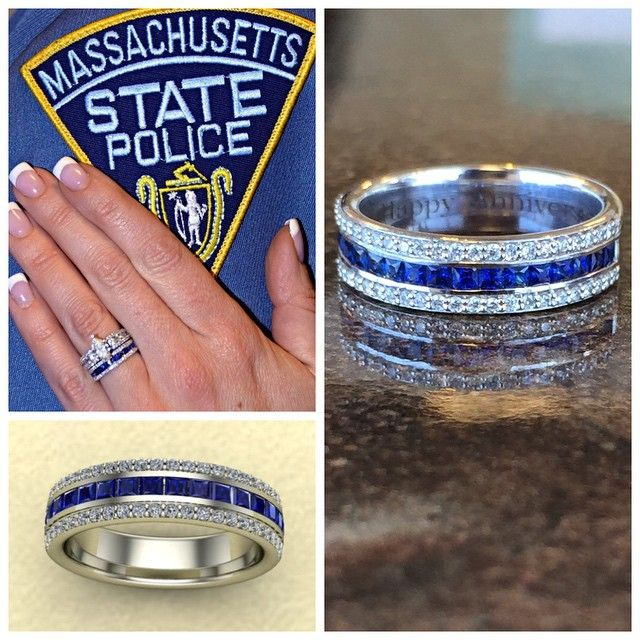 "A ring with meaning- the ""Thin Blue Line"" is significant to those in law…"