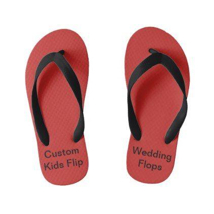 Custom Wedding Kids Red Flip Flops - kids kid child gift idea diy personalize design