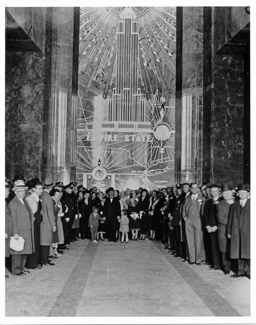 The lobby of the Empire State Building on opening day, 1 May 1931, New York City, New York.