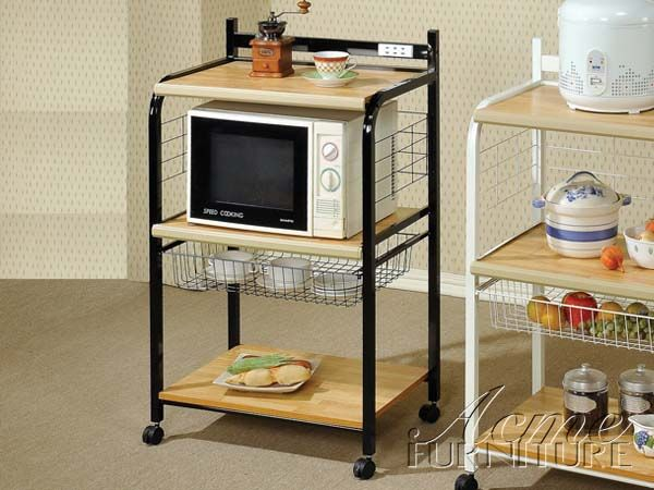 Sonic Black Kitchen Cart 12114 By Acme