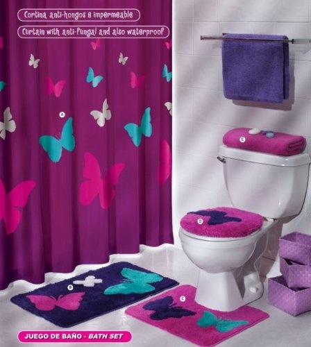90 80 Purple Pink Butterfly Mat Rug Bath Set 5 Pcs From