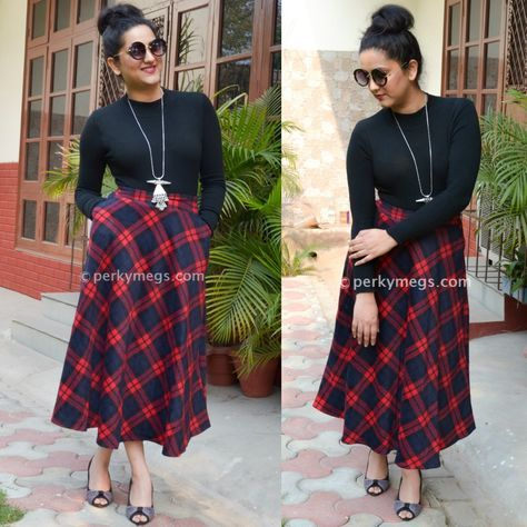 1dee5c10cc45 5 dresses to hide tummy. Black top with Long A line Plaid Skirt ...