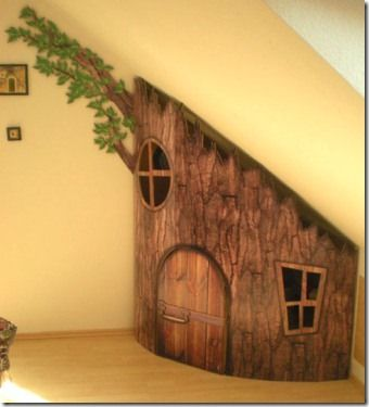 Tree house under the stairs! Way cool!