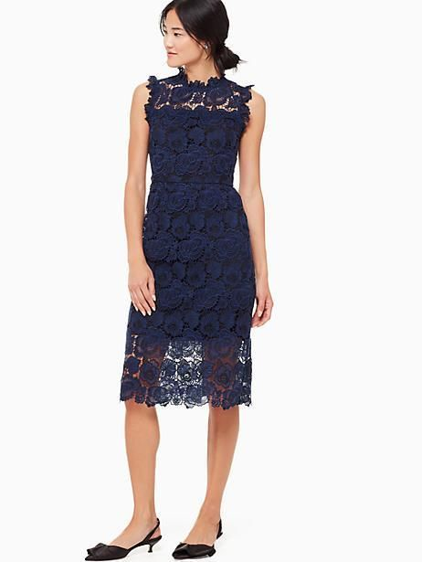 cbe4491b1eca Kate Spade Bicolor Lace Midi Dress, Adriatic Blue/Rich Ink - Size 16 ...