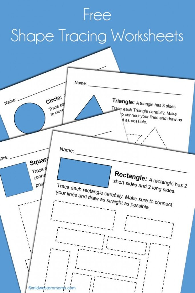 Free Shape Tracing Worksheets for Kindergarten. Great way to prepare your child for school!