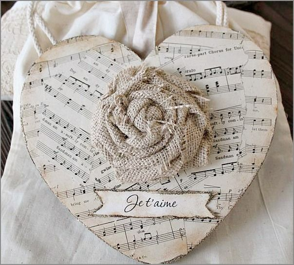 """Je t'aime! Sheet music paper heart with burlap rose ~ so simple & pretty!"""