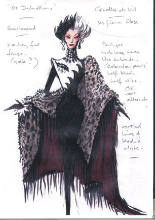 """Top 10 Designers: Anthony Powell I think Anthony has done an incredible job portraying the character of Cruella in a single rendering. Everything from the colors to the form itself screams """"Cruella de Vil""""."""