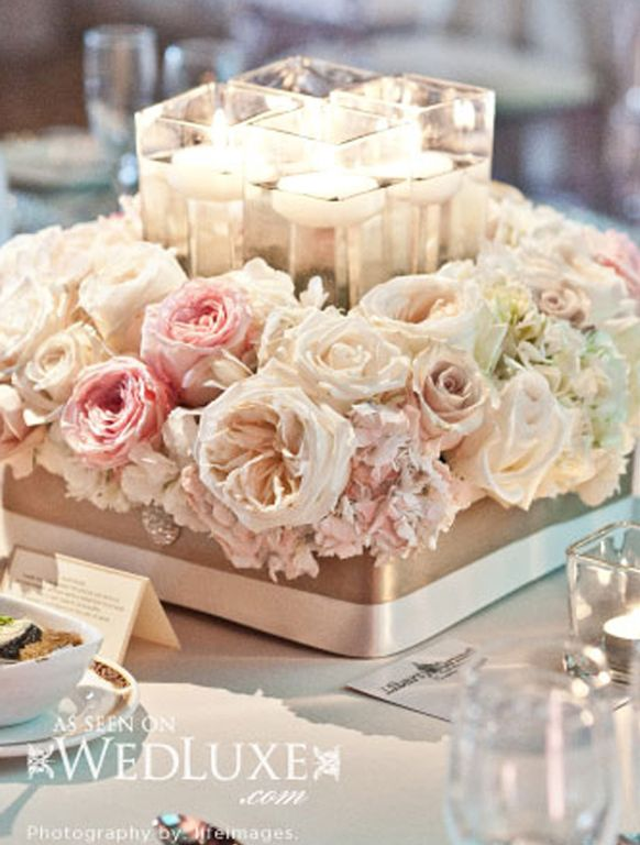 Blush Pink flowers floating candles centerpiece