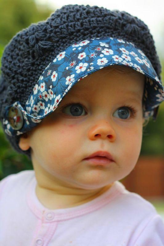 Béret-casquette en crochet-couture #bébé #chapeau