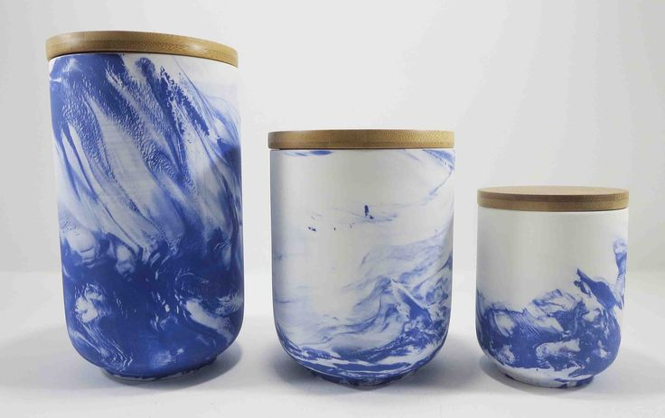 Blue marbled porcelain canisters