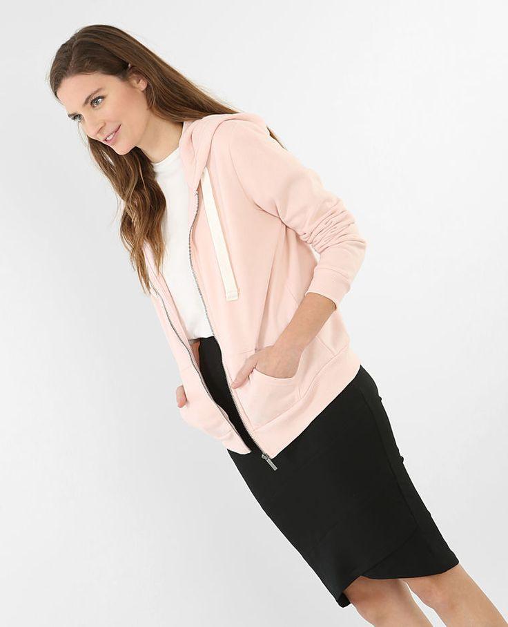 Sudadera con cremallera y capucha rosa