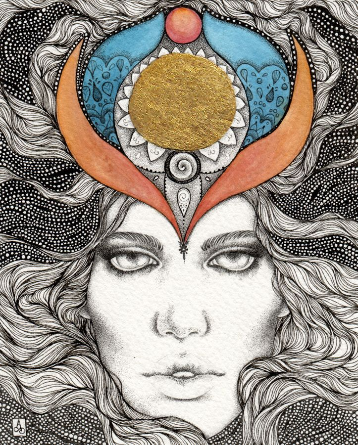 """Season of the Witch"" by Alice Savage. Ink, watercolors and golden leaf on Fabriano paper. Stippling, mystical, symbolism"