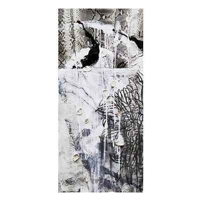 """""""Triptych I"""", mixed media abstract painting and drawing on matte natural python skin by New York City artist Jake Blake.  Blake uses an austere palette of black, white, and grey combining bold brush strokes, heavy layering, and deft, elegant drawing to create depth."""