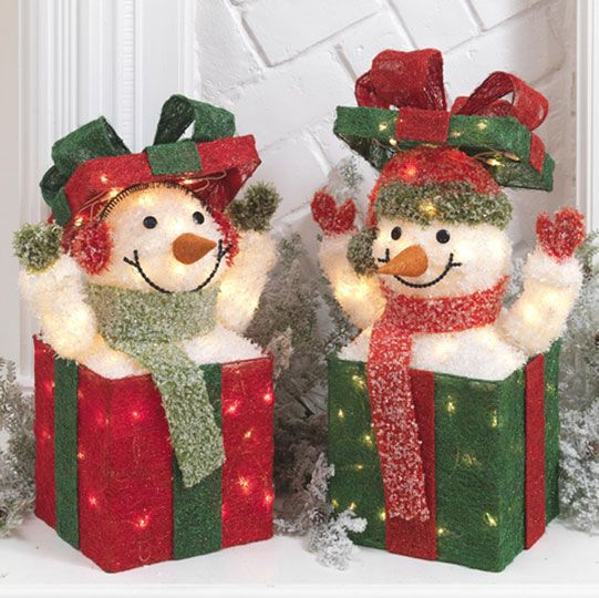 Lighted Snowmen in Christmas Presents