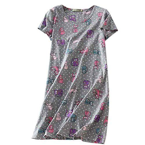 9ddf75bf52 Buy ENJOYNIGHT Womens Sleepwear Cotton Sleep Tee Short Sleeves Print  Sleepshirt (X-Large Cat