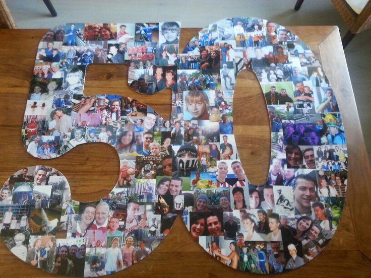 Toen mijn man 50 jaar / Abraham werd heb ik een stuk karton uitgesneden en daar 135 foto's op geplakt.
